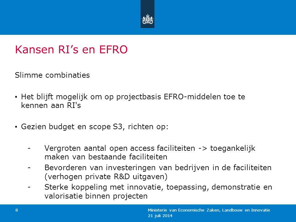 Kansen RI's en EFRO Slimme combinaties Het blijft mogelijk om op projectbasis EFRO-middelen toe te kennen aan RI's Gezien budget en scope S3, richten