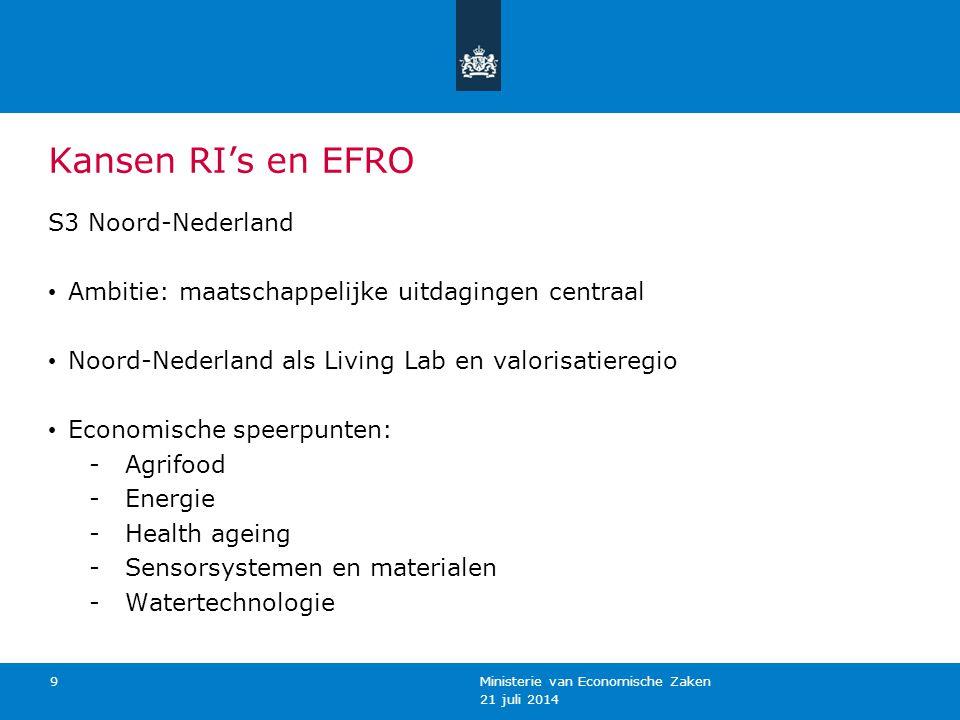 Kansen RI's en EFRO S3 Oost-Nederland Ambitie: S3 draagt bij aan de doelstellingen van Europa2020 Oost mikt op synergie met H2020 en cross-overs Economische speerpunten: - Agrifood - Health - Energie – en milieutechnologie - High Tech Systems and Materials (HTSM) 21 juli 2014 Ministerie van Economische Zaken, Landbouw en Innovatie 10