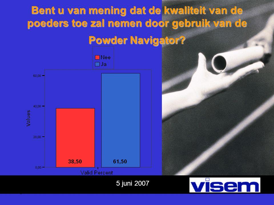 5 juni 2007 Bent u van mening dat de kwaliteit van de poeders toe zal nemen door gebruik van de Powder Navigator