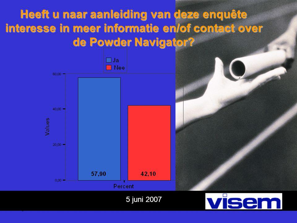 5 juni 2007 Heeft u naar aanleiding van deze enquête interesse in meer informatie en/of contact over de Powder Navigator?