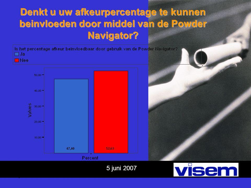 5 juni 2007 Conclusies 1 Poeders vooral door klant gekozen(89,47%) Poeders vooral door klant gekozen(89,47%)  PN Richten op klant.