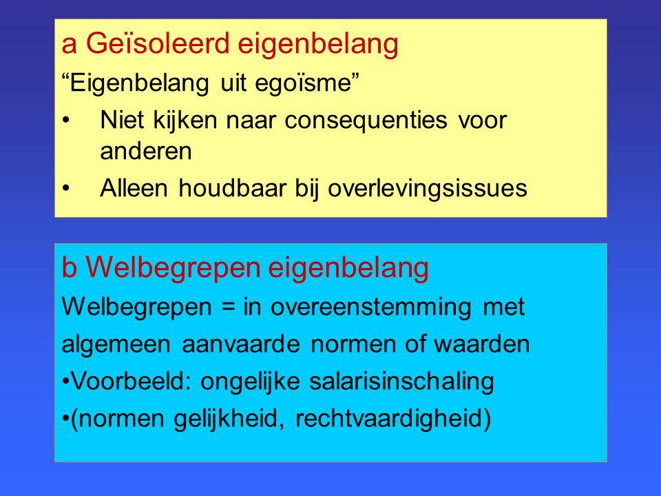 b Welbegrepen eigenbelang Welbegrepen = in overeenstemming met algemeen aanvaarde normen of waarden Voorbeeld: ongelijke salarisinschaling (normen gel
