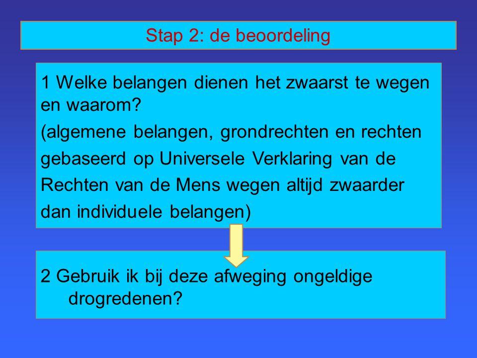 5 Verdediging vanuit principe van wederkerigheid 4 Verdediging vanuit principe van universaliteit 3 Verdediging vanuit de drie ethische perspectieven Stap 2: de beoordeling (vervolg)