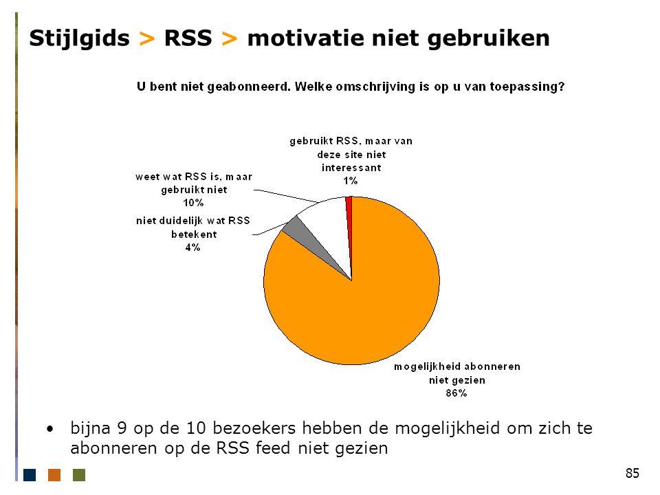 85 Stijlgids > RSS > motivatie niet gebruiken bijna 9 op de 10 bezoekers hebben de mogelijkheid om zich te abonneren op de RSS feed niet gezien