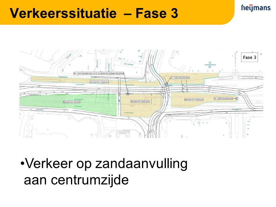 Verkeerssituatie – Fase 3 Verkeer op zandaanvulling aan centrumzijde