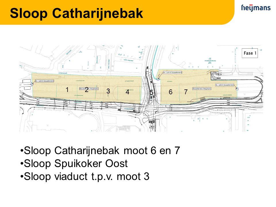 Sloop Catharijnebak 21 3 4 5 67 Sloop Catharijnebak moot 6 en 7 Sloop Spuikoker Oost Sloop viaduct t.p.v. moot 3