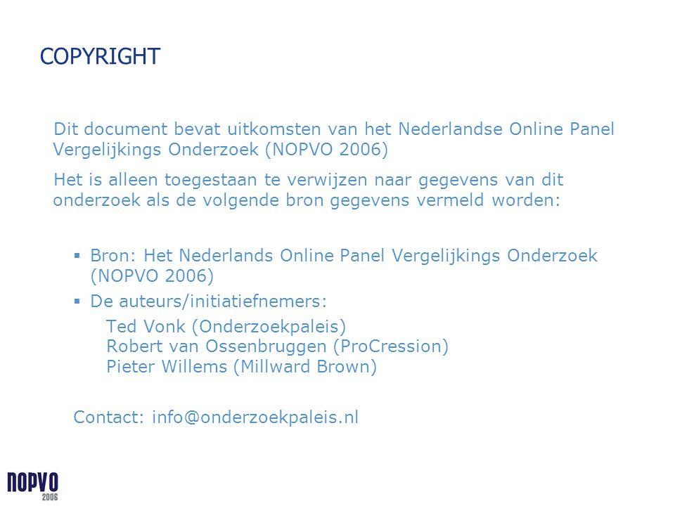 COPYRIGHT Dit document bevat uitkomsten van het Nederlandse Online Panel Vergelijkings Onderzoek (NOPVO 2006) Het is alleen toegestaan te verwijzen na