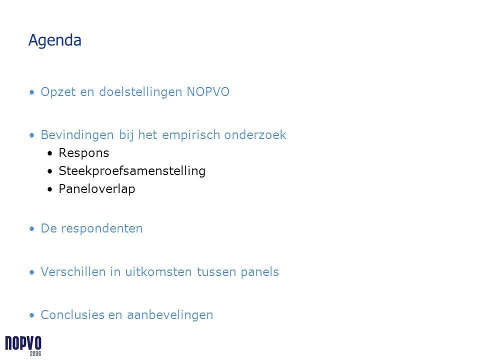 Agenda Opzet en doelstellingen NOPVO Bevindingen bij het empirisch onderzoek Respons Steekproefsamenstelling Paneloverlap De respondenten Verschillen