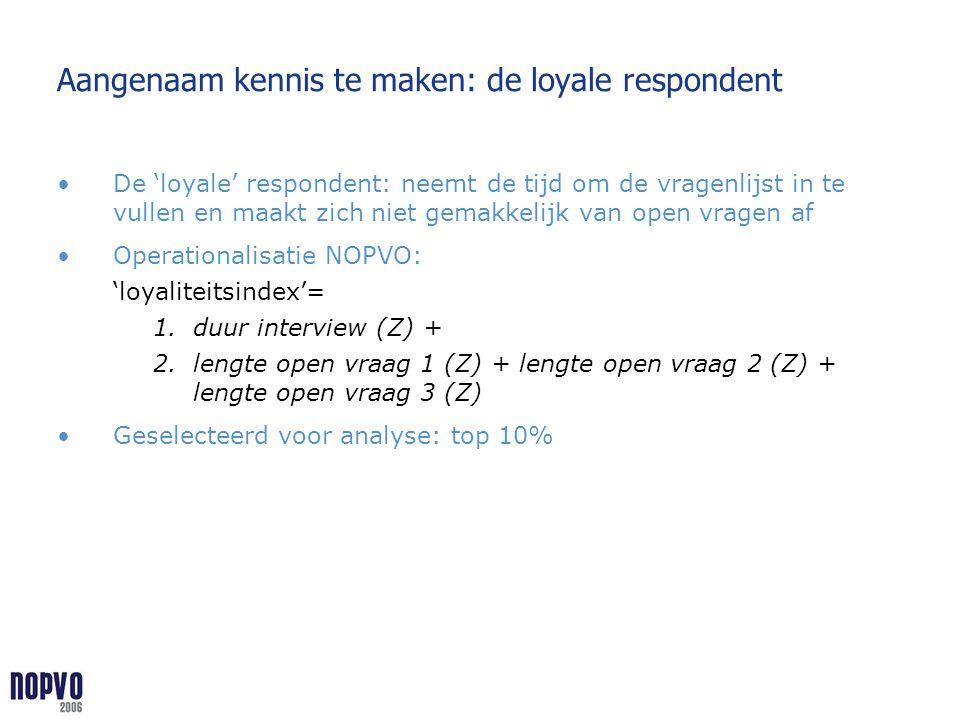 Aangenaam kennis te maken: de loyale respondent De 'loyale' respondent: neemt de tijd om de vragenlijst in te vullen en maakt zich niet gemakkelijk va