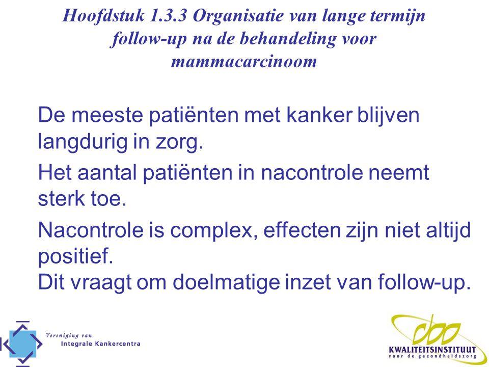 Doelen van follow-up Het geven van psychosociale ondersteuning Monitoren van effecten van (adjuvante) behandeling Het vroegtijdig ontdekken van in principe behandelbare recidieven