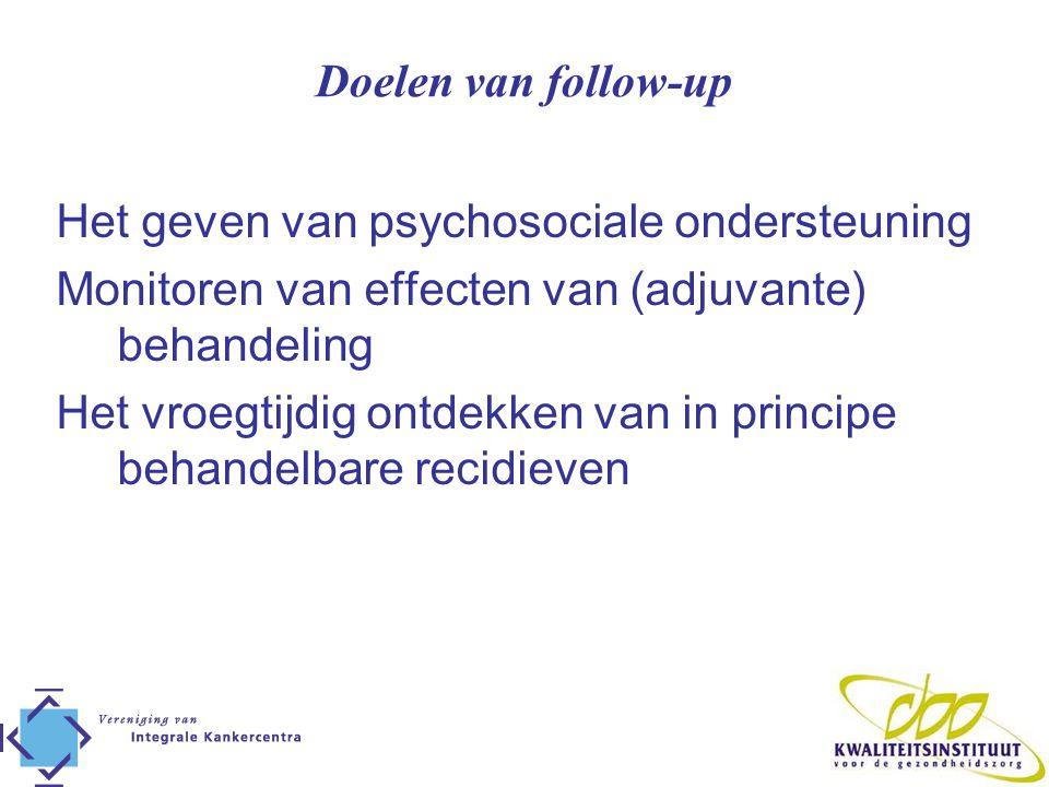 Doelen van follow-up Het geven van psychosociale ondersteuning Monitoren van effecten van (adjuvante) behandeling Het vroegtijdig ontdekken van in pri