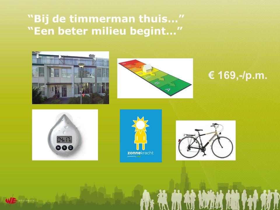 Bij de timmerman thuis… Een beter milieu begint… € 169,-/p.m.