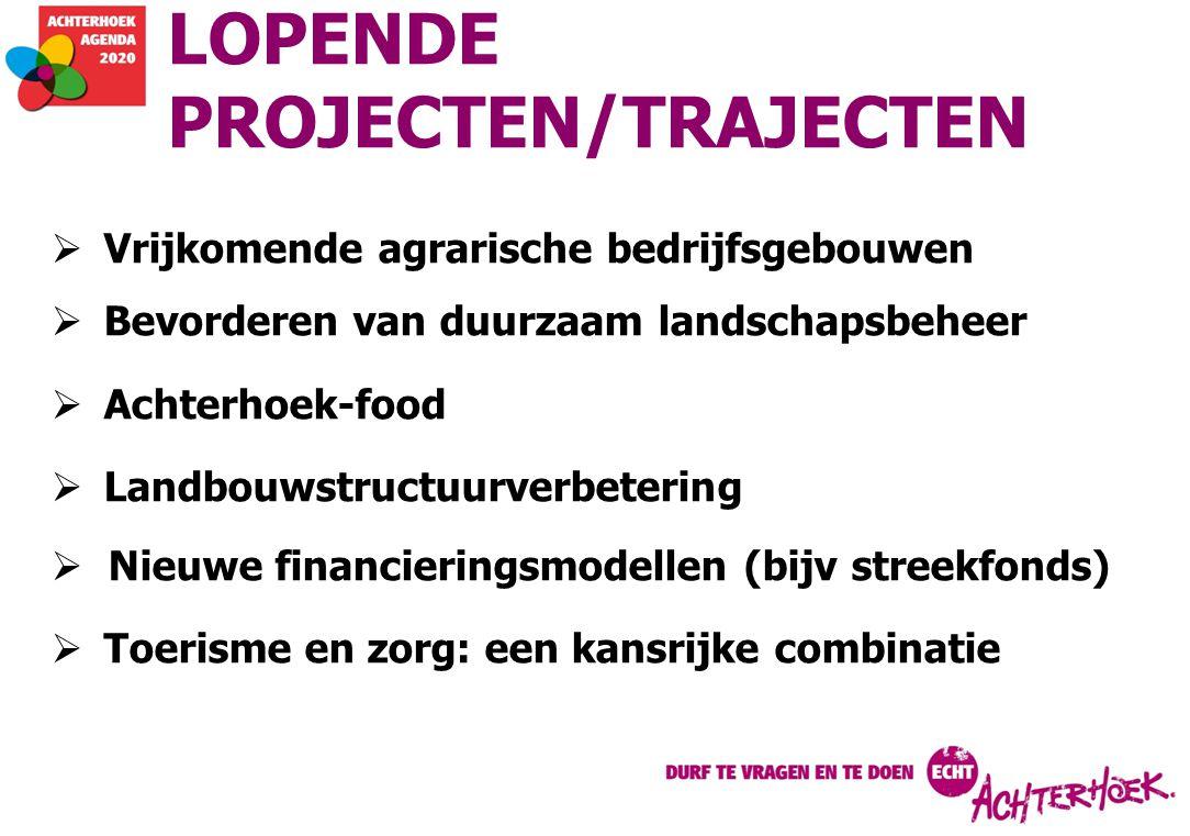LOPENDE PROJECTEN/TRAJECTEN  Vrijkomende agrarische bedrijfsgebouwen  Bevorderen van duurzaam landschapsbeheer  Achterhoek-food  Landbouwstructuur