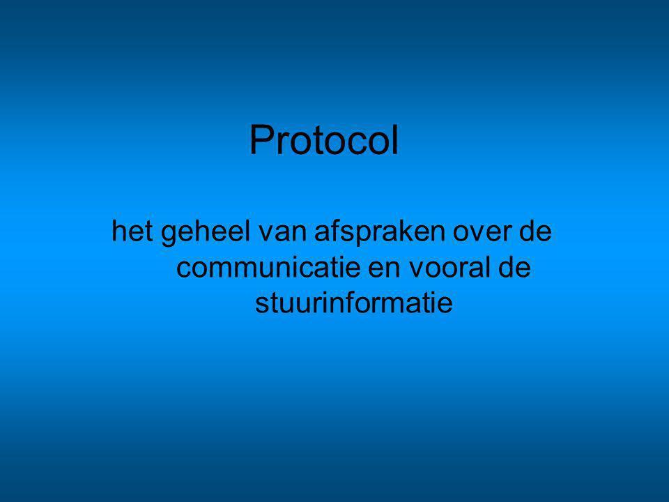 Protocol het geheel van afspraken over de communicatie en vooral de stuurinformatie