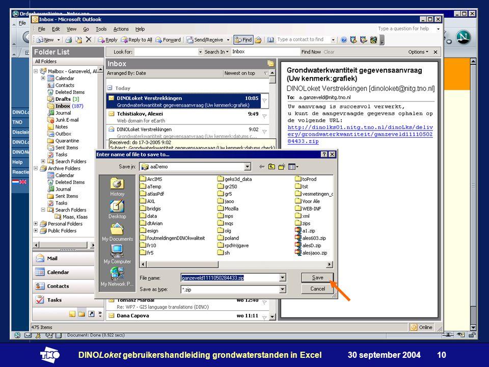 30 september 2004DINOLoket gebruikershandleiding grondwaterstanden in Excel10