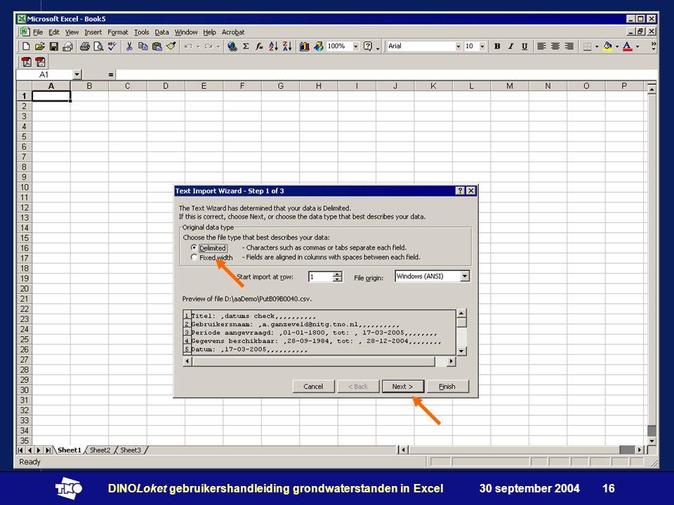 30 september 2004DINOLoket gebruikershandleiding grondwaterstanden in Excel16