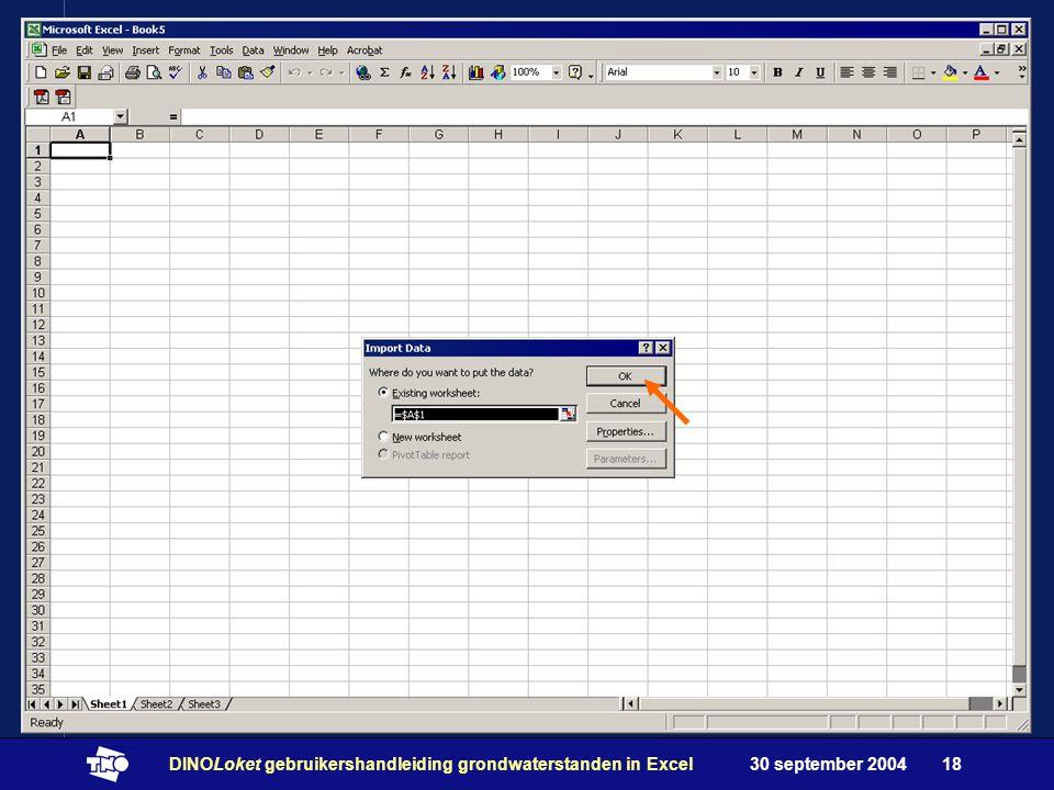 30 september 2004DINOLoket gebruikershandleiding grondwaterstanden in Excel18