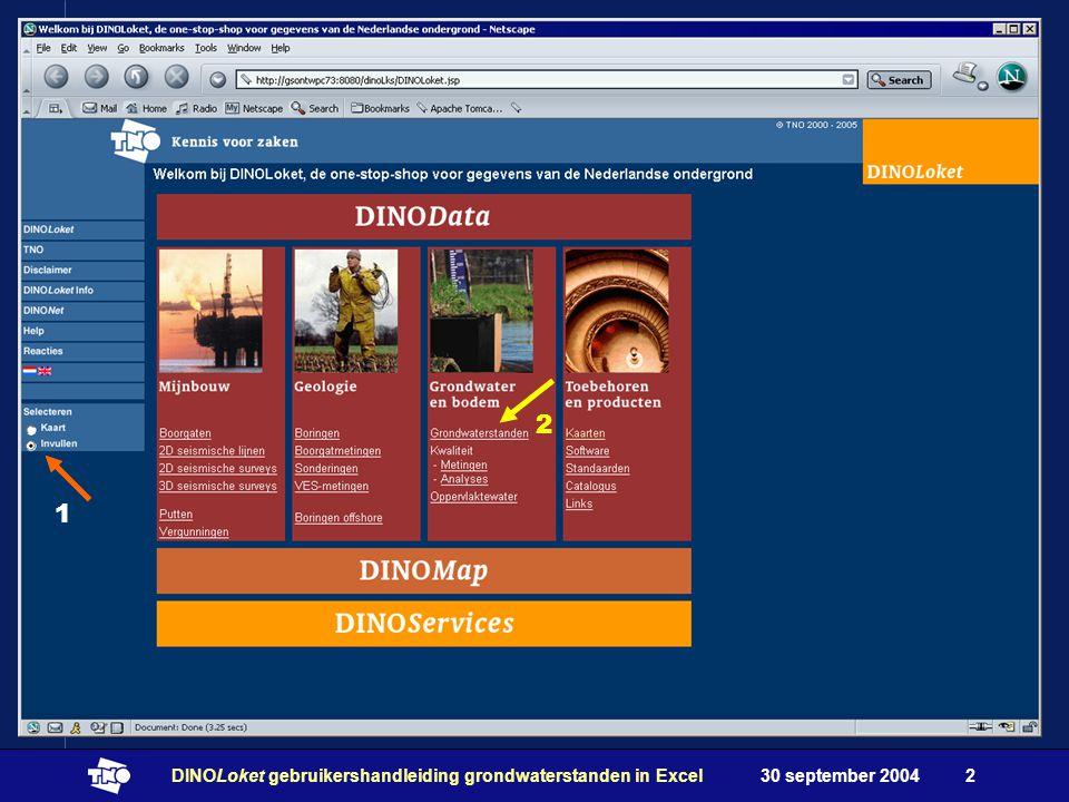 30 september 2004DINOLoket gebruikershandleiding grondwaterstanden in Excel2 1 2