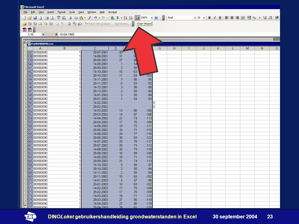 30 september 2004DINOLoket gebruikershandleiding grondwaterstanden in Excel23
