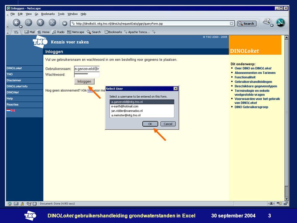 30 september 2004DINOLoket gebruikershandleiding grondwaterstanden in Excel3