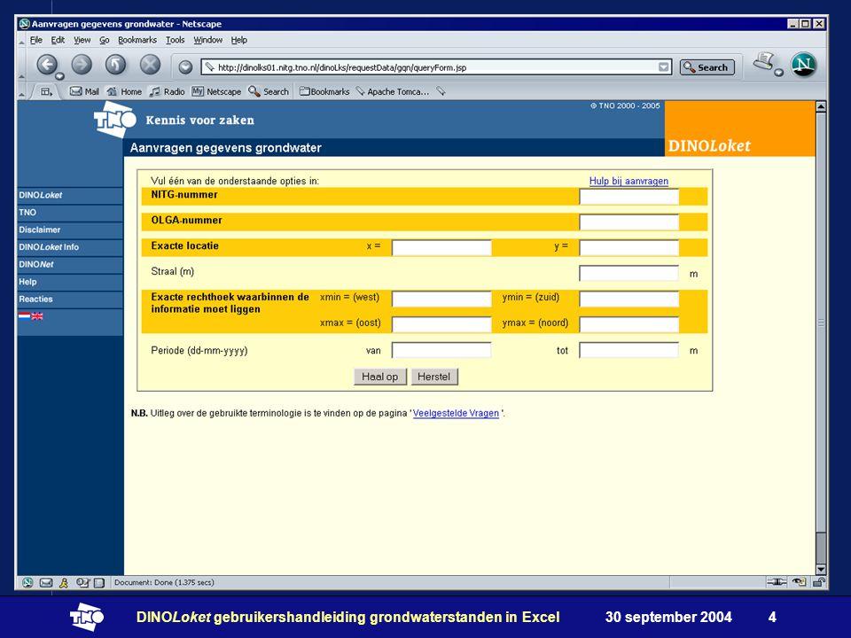 30 september 2004DINOLoket gebruikershandleiding grondwaterstanden in Excel4