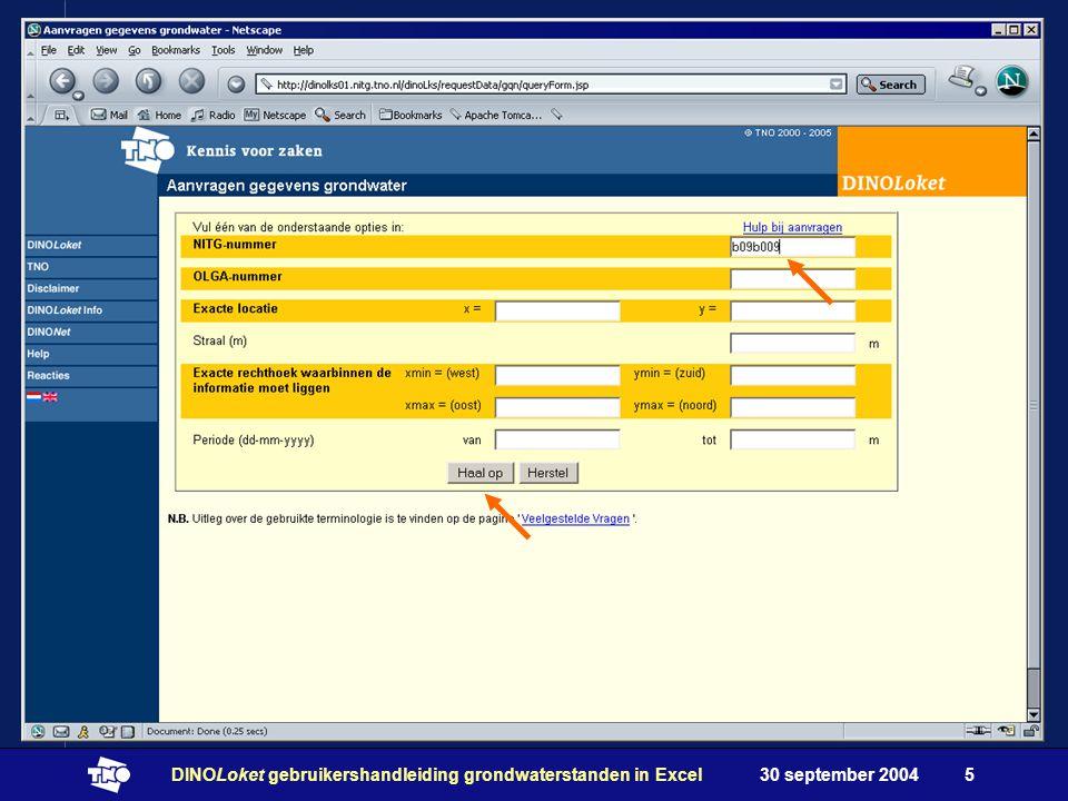 30 september 2004DINOLoket gebruikershandleiding grondwaterstanden in Excel5