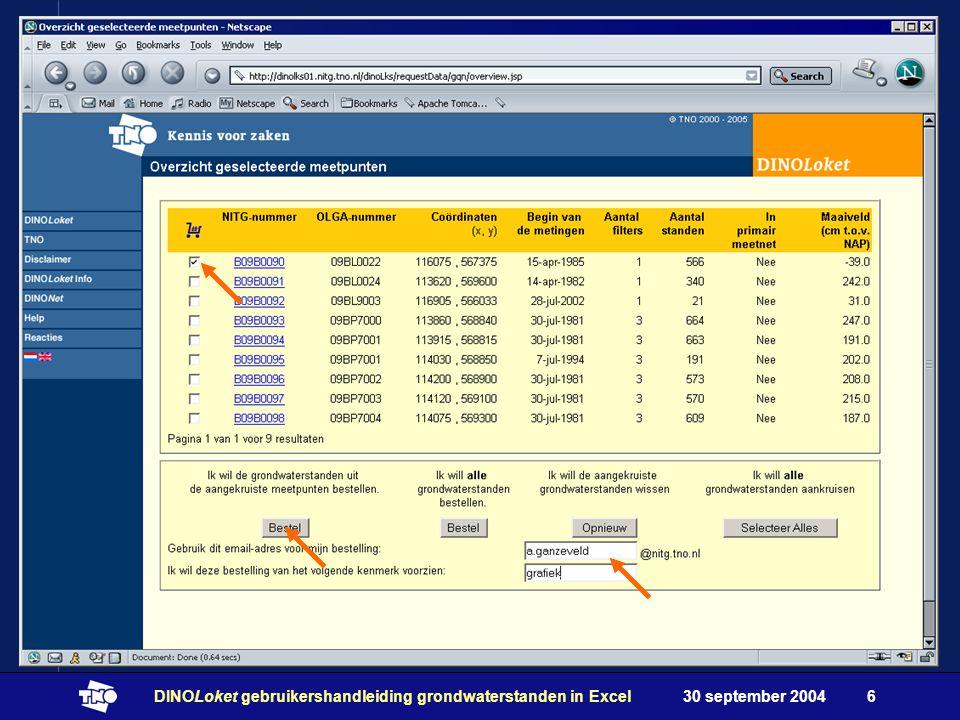 30 september 2004DINOLoket gebruikershandleiding grondwaterstanden in Excel6
