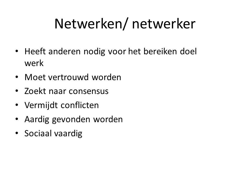 Netwerken/ netwerker Heeft anderen nodig voor het bereiken doel werk Moet vertrouwd worden Zoekt naar consensus Vermijdt conflicten Aardig gevonden worden Sociaal vaardig