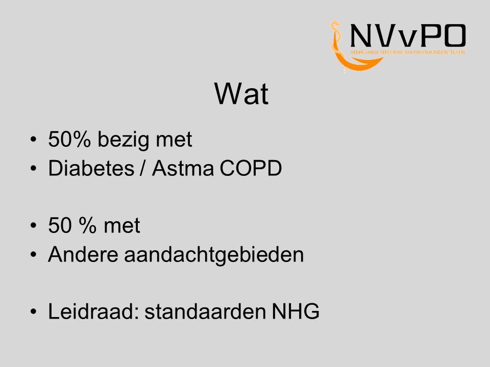 Wat 50% bezig met Diabetes / Astma COPD 50 % met Andere aandachtgebieden Leidraad: standaarden NHG