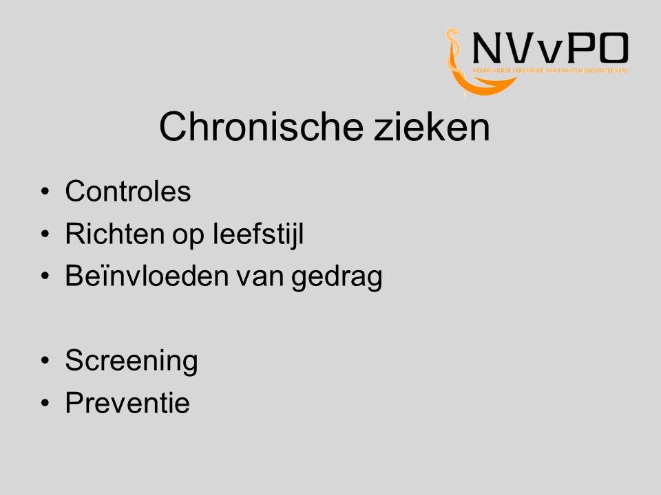 Chronische zieken Controles Richten op leefstijl Beïnvloeden van gedrag Screening Preventie