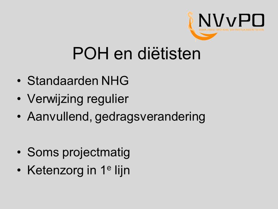 POH en diëtisten Standaarden NHG Verwijzing regulier Aanvullend, gedragsverandering Soms projectmatig Ketenzorg in 1 e lijn