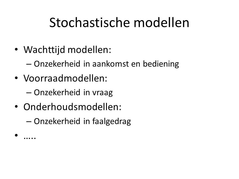 Stochastische modellen Wachttijd modellen: – Onzekerheid in aankomst en bediening Voorraadmodellen: – Onzekerheid in vraag Onderhoudsmodellen: – Onzekerheid in faalgedrag …..