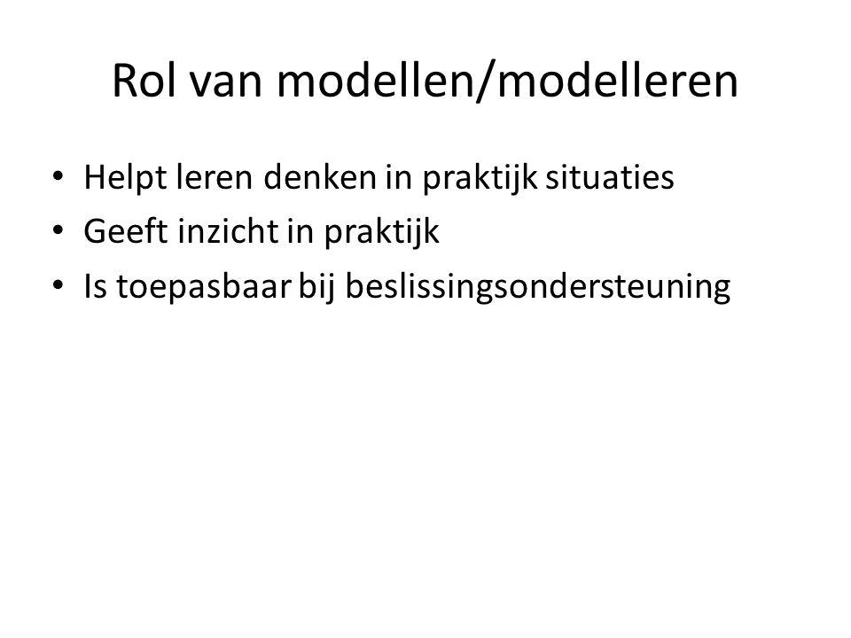 Rol van modellen/modelleren Helpt leren denken in praktijk situaties Geeft inzicht in praktijk Is toepasbaar bij beslissingsondersteuning