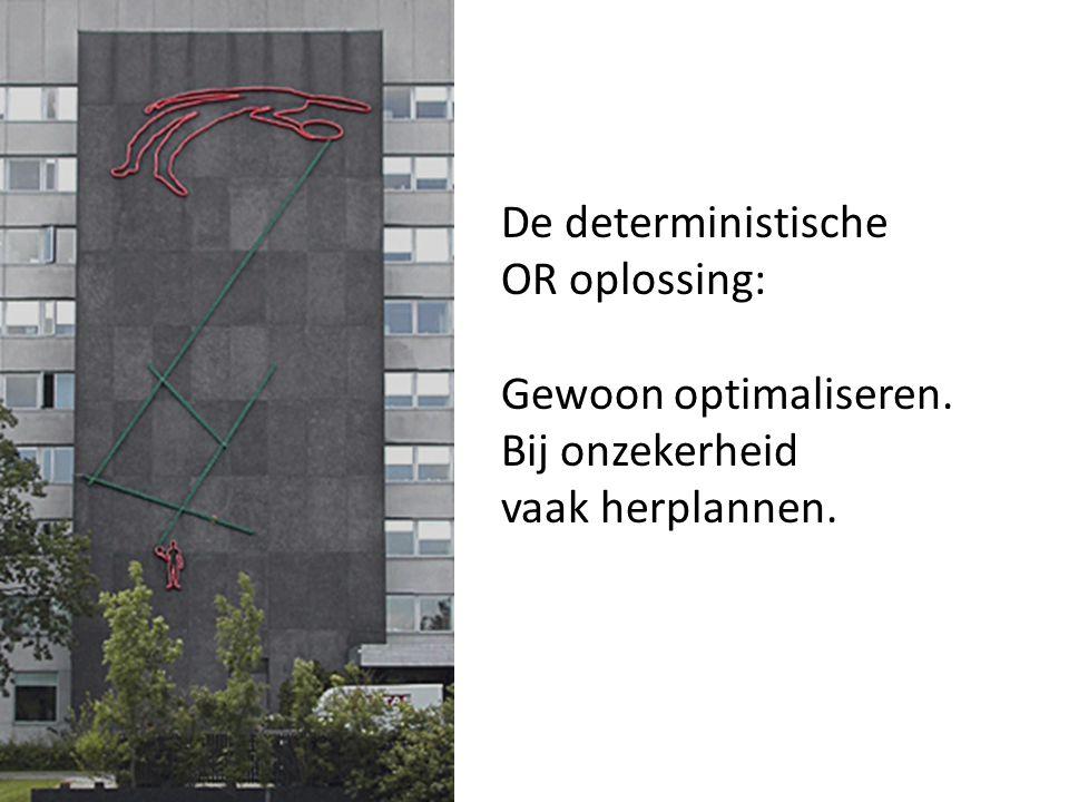 De deterministische OR oplossing: Gewoon optimaliseren. Bij onzekerheid vaak herplannen.