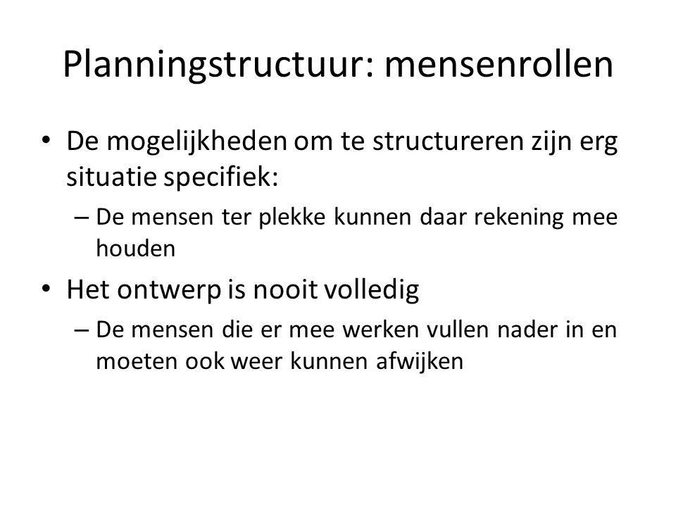 Planningstructuur: mensenrollen De mogelijkheden om te structureren zijn erg situatie specifiek: – De mensen ter plekke kunnen daar rekening mee houden Het ontwerp is nooit volledig – De mensen die er mee werken vullen nader in en moeten ook weer kunnen afwijken
