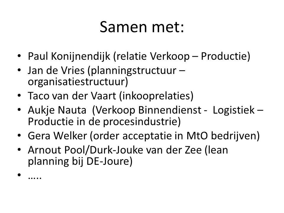 Samen met: Paul Konijnendijk (relatie Verkoop – Productie) Jan de Vries (planningstructuur – organisatiestructuur) Taco van der Vaart (inkooprelaties) Aukje Nauta (Verkoop Binnendienst - Logistiek – Productie in de procesindustrie) Gera Welker (order acceptatie in MtO bedrijven) Arnout Pool/Durk-Jouke van der Zee (lean planning bij DE-Joure) …..