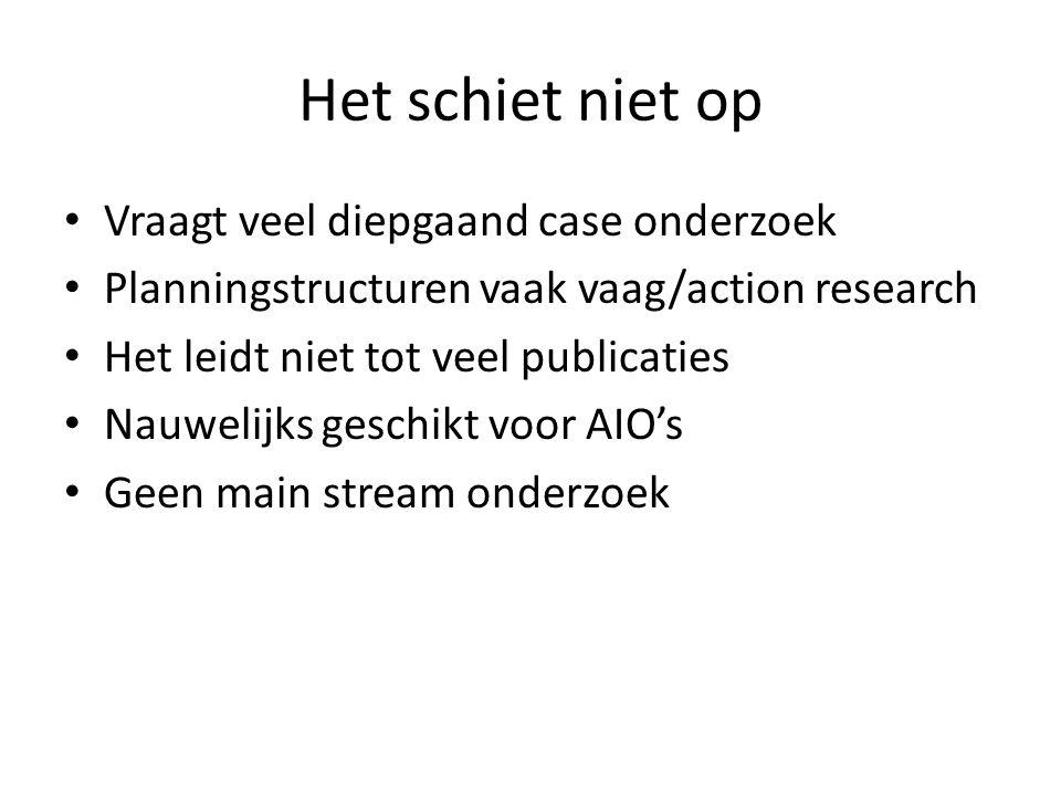 Het schiet niet op Vraagt veel diepgaand case onderzoek Planningstructuren vaak vaag/action research Het leidt niet tot veel publicaties Nauwelijks geschikt voor AIO's Geen main stream onderzoek
