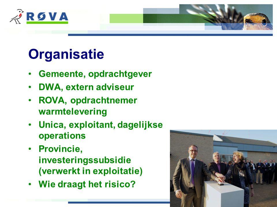 Organisatie Gemeente, opdrachtgever DWA, extern adviseur ROVA, opdrachtnemer warmtelevering Unica, exploitant, dagelijkse operations Provincie, investeringssubsidie (verwerkt in exploitatie) Wie draagt het risico
