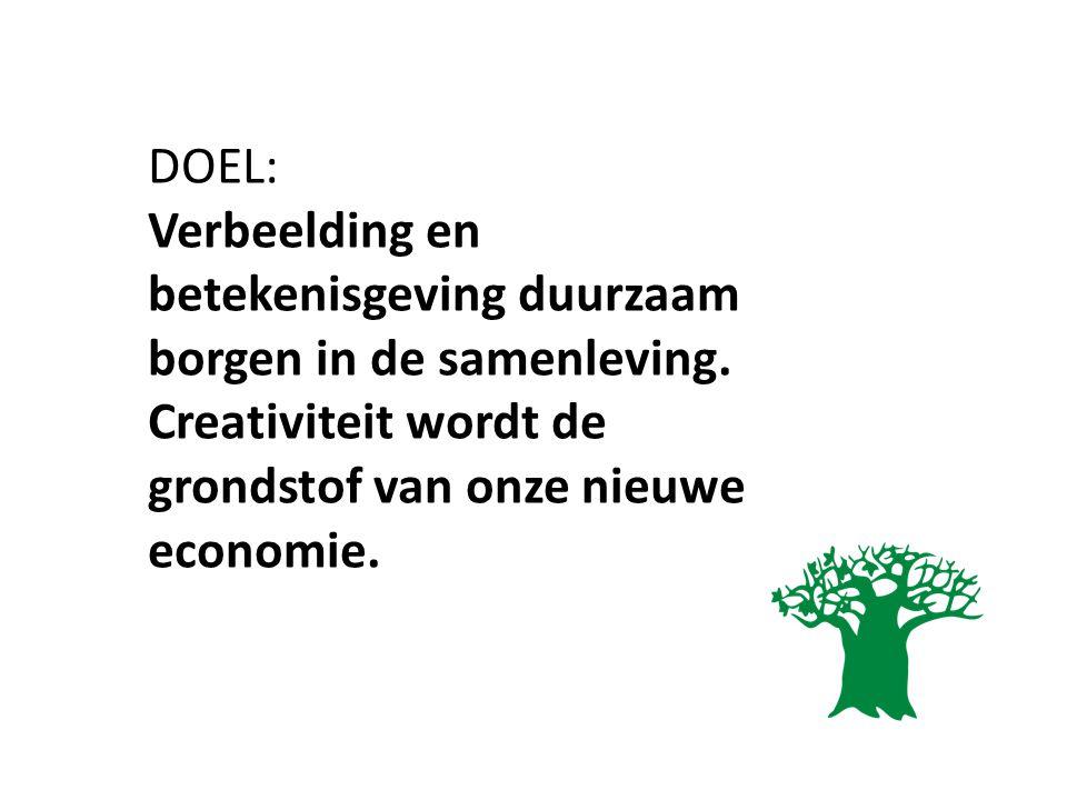 DOEL: Verbeelding en betekenisgeving duurzaam borgen in de samenleving. Creativiteit wordt de grondstof van onze nieuwe economie.