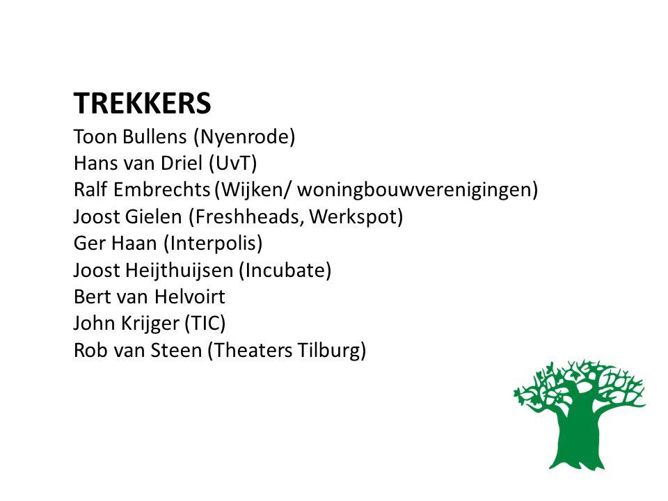 TREKKERS Toon Bullens (Nyenrode) Hans van Driel (UvT) Ralf Embrechts (Wijken/ woningbouwverenigingen) Joost Gielen (Freshheads, Werkspot) Ger Haan (In