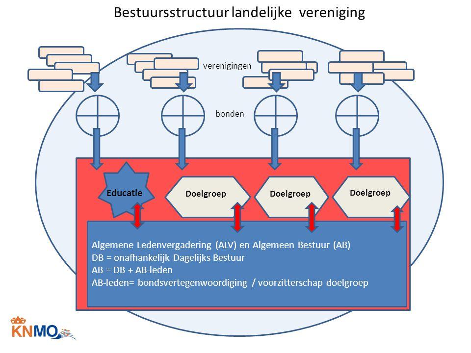 Bestuursstructuur landelijke vereniging Algemene Ledenvergadering (ALV) en Algemeen Bestuur (AB) DB = onafhankelijk Dagelijks Bestuur AB = DB + AB-led