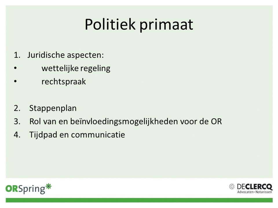 Politiek primaat 1.Juridische aspecten: wettelijke regeling rechtspraak 2.Stappenplan 3.Rol van en beïnvloedingsmogelijkheden voor de OR 4.Tijdpad en
