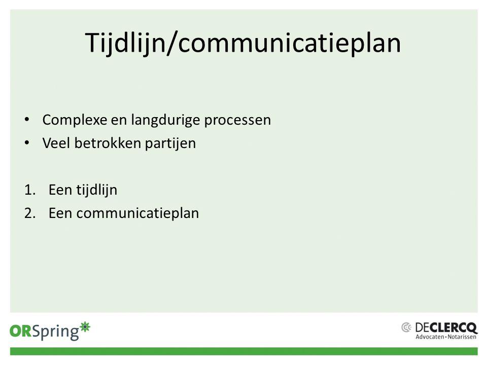 Tijdlijn/communicatieplan Complexe en langdurige processen Veel betrokken partijen 1.Een tijdlijn 2.Een communicatieplan