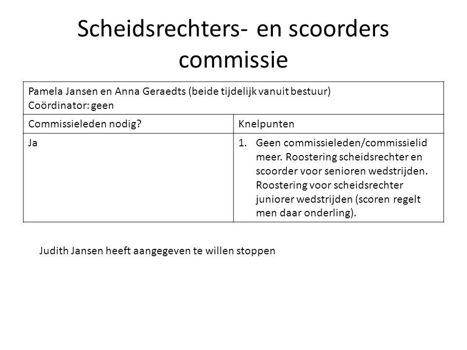 Scheidsrechters- en scoorders commissie Pamela Jansen en Anna Geraedts (beide tijdelijk vanuit bestuur) Coördinator: geen Commissieleden nodig?Knelpun