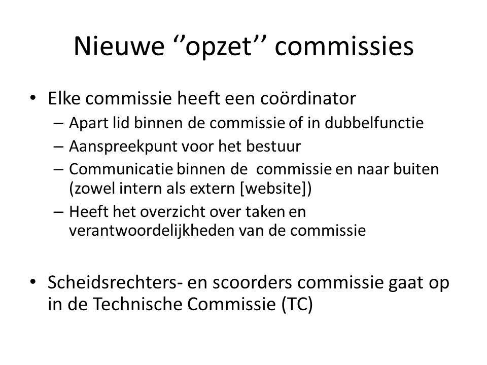 Nieuwe ''opzet'' commissies Elke commissie heeft een coördinator – Apart lid binnen de commissie of in dubbelfunctie – Aanspreekpunt voor het bestuur