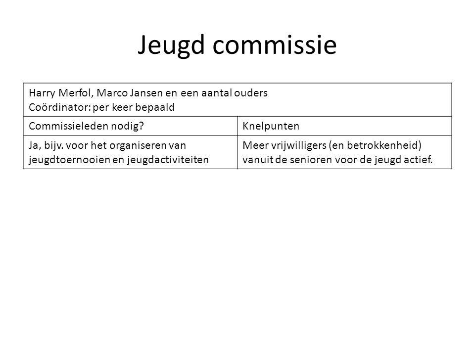 Jeugd commissie Harry Merfol, Marco Jansen en een aantal ouders Coördinator: per keer bepaald Commissieleden nodig?Knelpunten Ja, bijv. voor het organ