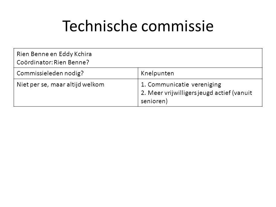 Technische commissie Rien Benne en Eddy Kchira Coördinator: Rien Benne? Commissieleden nodig?Knelpunten Niet per se, maar altijd welkom1. Communicatie