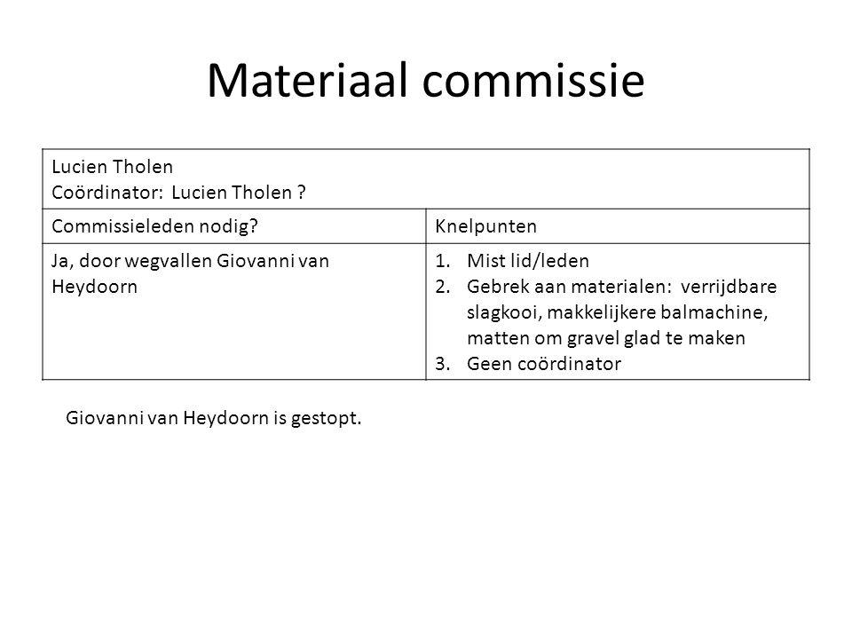 Materiaal commissie Lucien Tholen Coördinator: Lucien Tholen ? Commissieleden nodig?Knelpunten Ja, door wegvallen Giovanni van Heydoorn 1.Mist lid/led