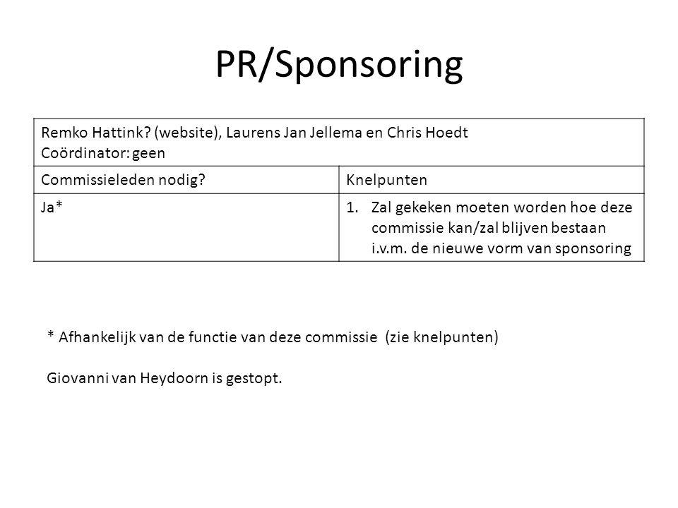 PR/Sponsoring Remko Hattink? (website), Laurens Jan Jellema en Chris Hoedt Coördinator: geen Commissieleden nodig?Knelpunten Ja*1.Zal gekeken moeten w