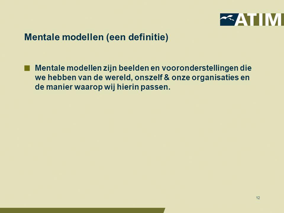 Mentale modellen (een definitie) Mentale modellen zijn beelden en vooronderstellingen die we hebben van de wereld, onszelf & onze organisaties en de manier waarop wij hierin passen.
